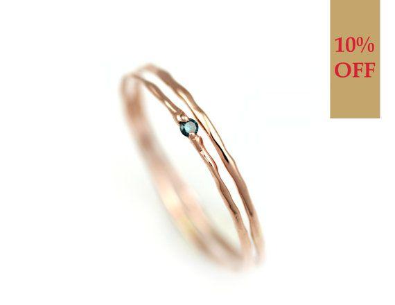 Diamantring verlobung blau  Blauer Diamant-Ring Gold Ring Set Stapeln von BlissjJewellery ...