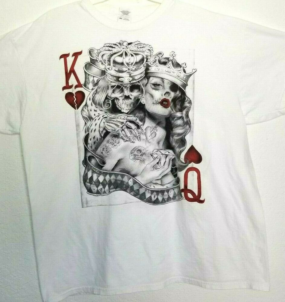 King queen of hearts tattoo sugar skull poker playing