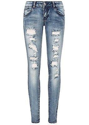 b1d3d8cdcd6d51 Seventyseven Lifestyle Damen Heavy Destroyed Skinny Jeans 5-Pocktes medium  blau denim - Art.-Nr.: 19027014