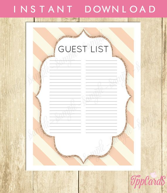 Gold and Pink Baby Shower Guest List Glitter Baby Shower List Chic - printable baby shower guest list
