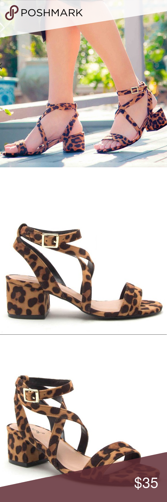 qupid leopard block heels