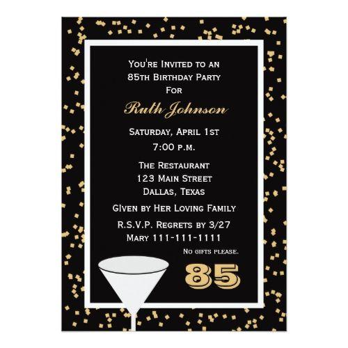 85th Birthday Party Invitation 85 And Confetti