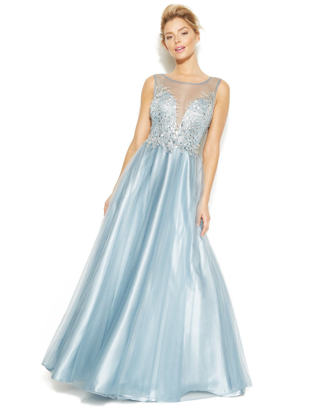 Betsy u adam illusion embellished sweetheart gown prom prom