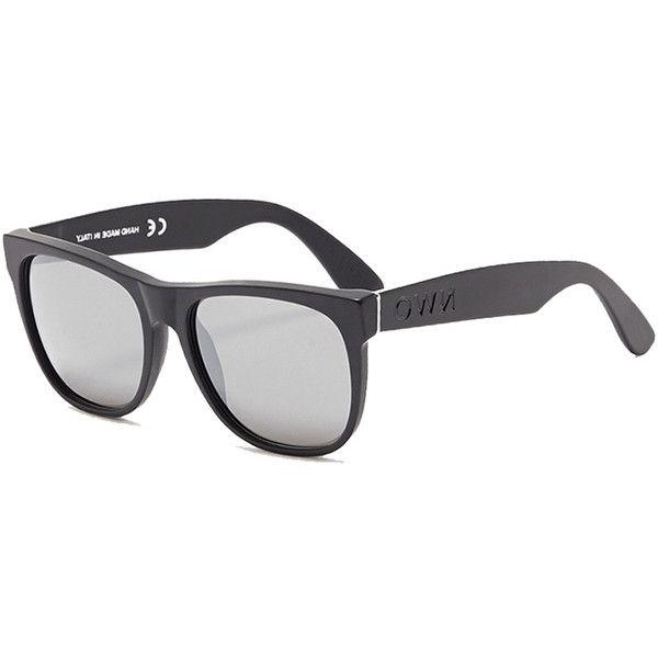 RETROSUPERFUTURE Super Classic NWO Matte Black ($199) ❤ liked on Polyvore featuring accessories, eyewear, sunglasses, women, lens glasses, black eyewear, matte black sunglasses, black glasses and black lens sunglasses