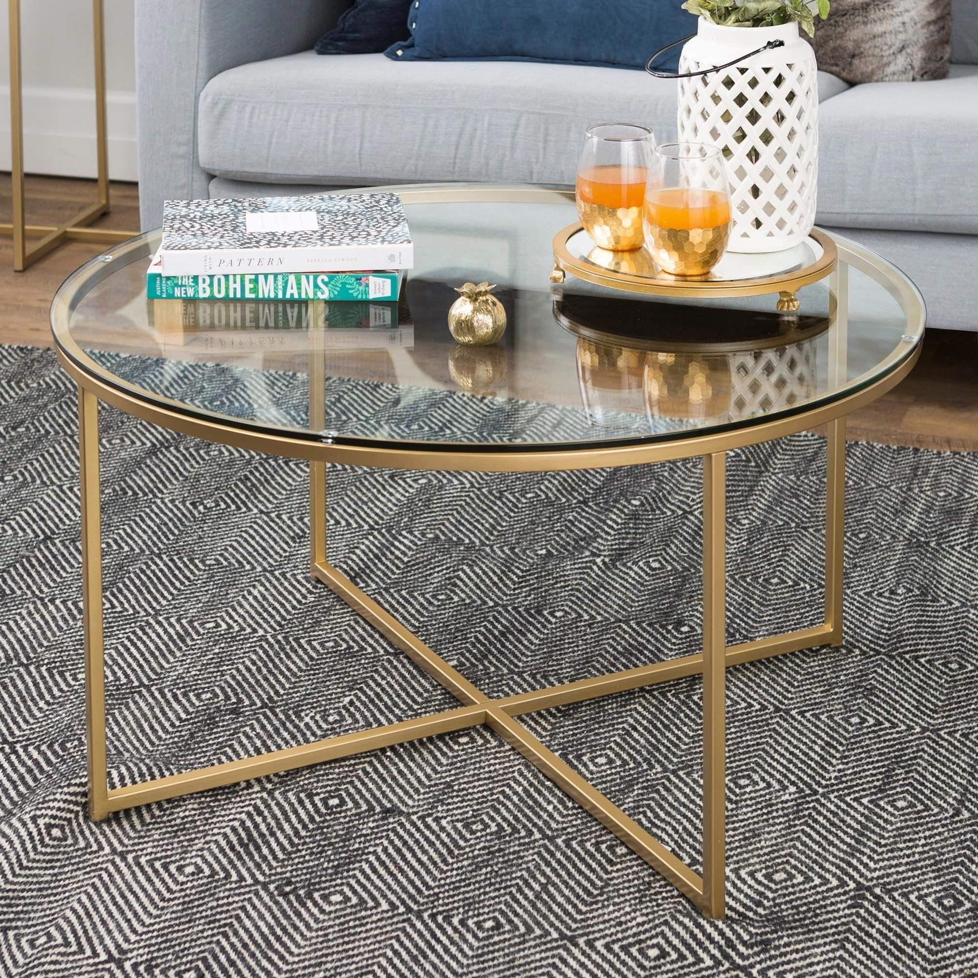 Clay Alder Home Toston 36 Inch Coffee Brown Table With X Base Glass Coffee Table Gold Coffee Table Round Coffee Table