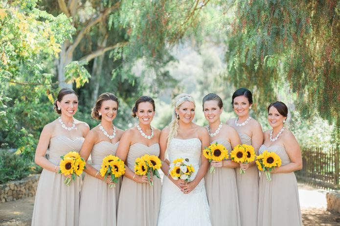 Bridal Party In Beige Chiffon Gowns With Statement Necklaces And Sunflower Wedding Bouquets Pumpkin Patch