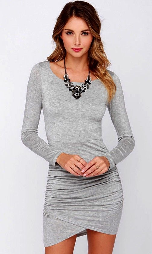 LULUS Exclusive Stay With Me Grey Long Sleeve Dress