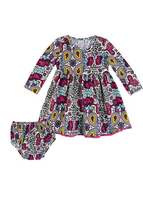 7fe642a0c7 Vestido Bebê Em Algodão Com Estampa E Calcinha