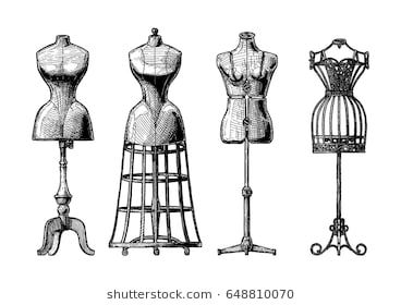 191172fd97879 Vector hand drawn illustration of mannequins set in vintage engraved style.  Old fashion dummy