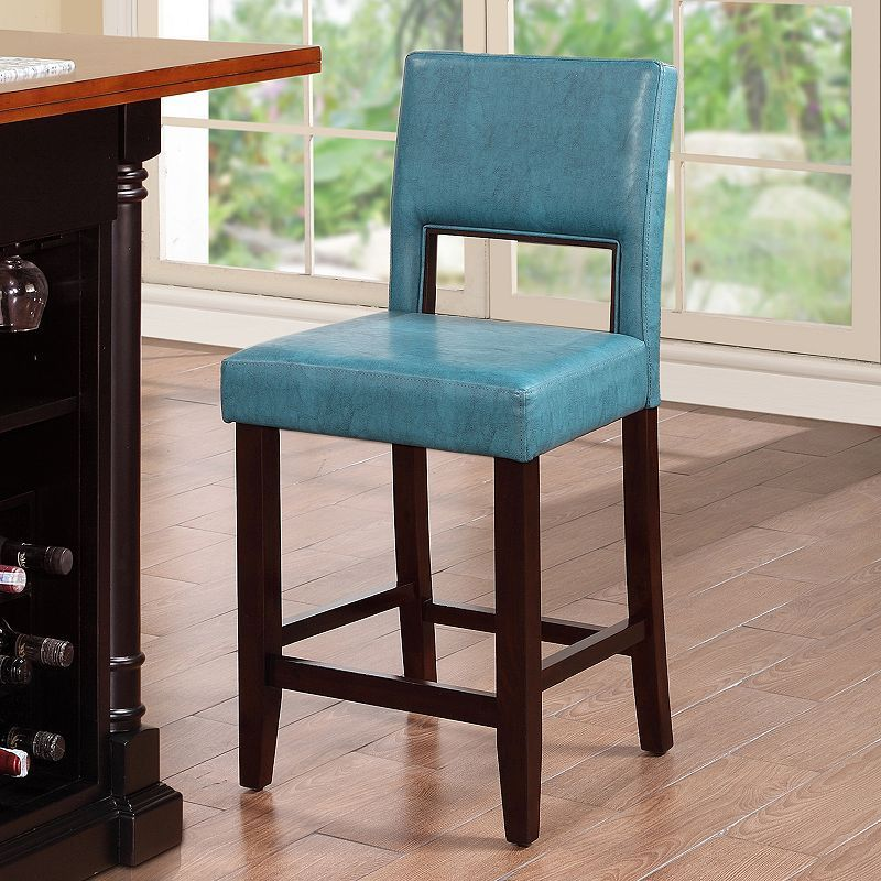 Linon Vega Counter Stool Blue