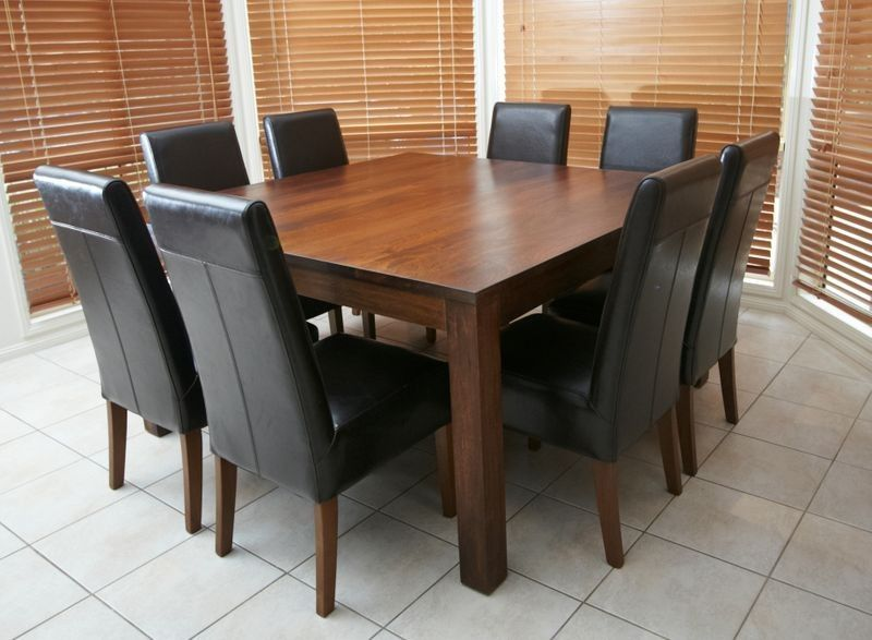 Solid Wooden Timber Square Table + 8 Black Leather Chairs 9 Piece Dining  Package