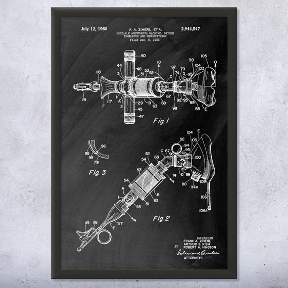Anesthesia Oxygen Inhalator Poster Print Anesthesiology Nurse Gift Hospital