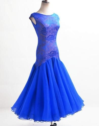 6441b07028b0 Blue foxtrot ballroom dance  modern  waltz gown ball  competition ...