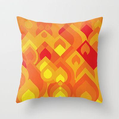 Fuego, orange and yellow  Throw Pillow