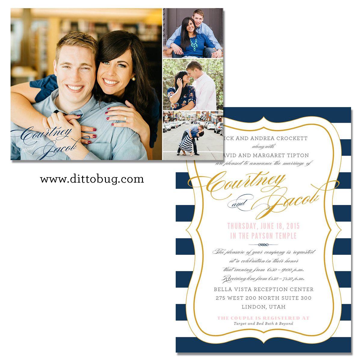 Dittobug Wedding Invitations Two Sided Wedding Invitation Photo Wedding Invita Utah Wedding Invitations Beautiful Wedding Announcements Wedding Invitations