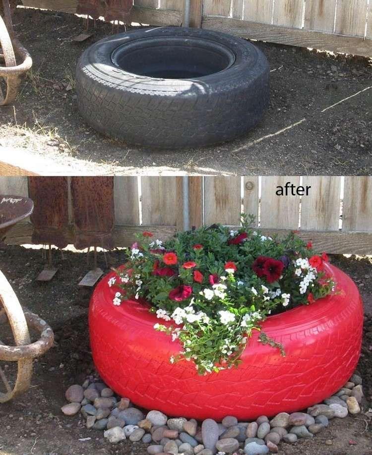 Alte Autoreifen rot streichen und bepflanzen | Gestaltung mit reifen ...