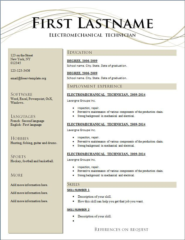 resumes free resume templates 2015 and best action words best 7 free resume templates - Free Resume Sample