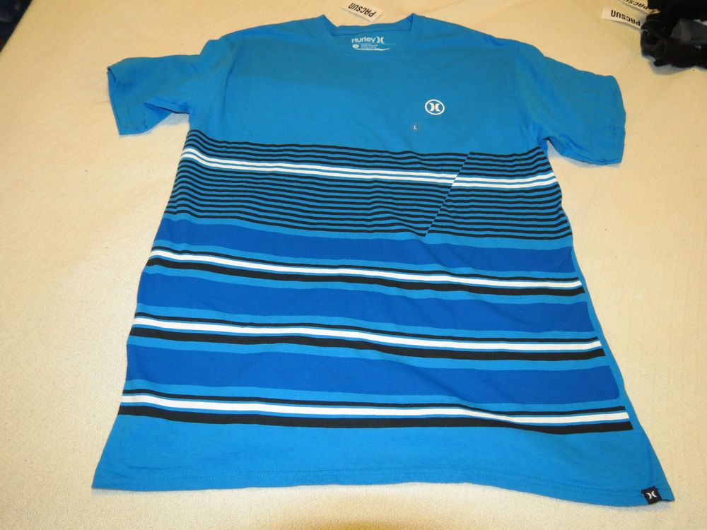 Men's Hurley Classic fit t shirt logo L large surf skate cotton Cyan blue 03648 #Hurley #BasicTee