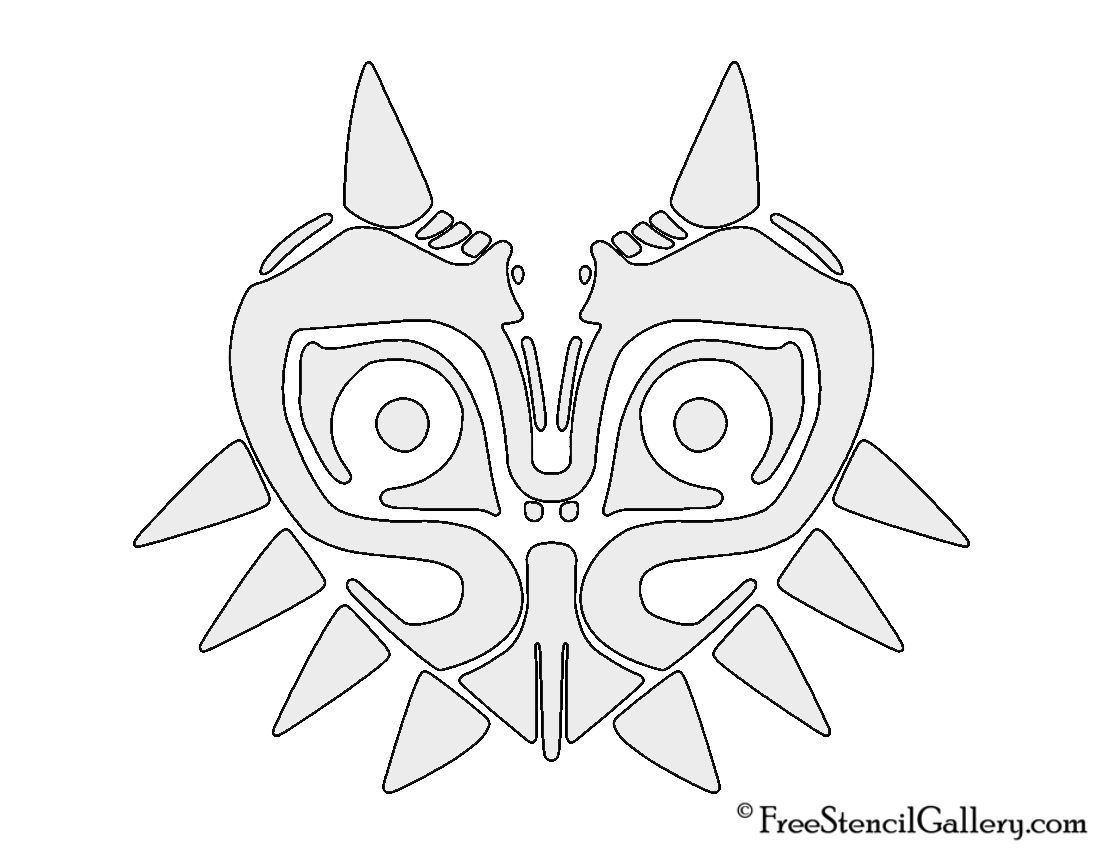 The Legend Of Zelda Majora S Mask Stencil Zelda Diy Halloween Pumpkin Stencils Pumpkin Mask