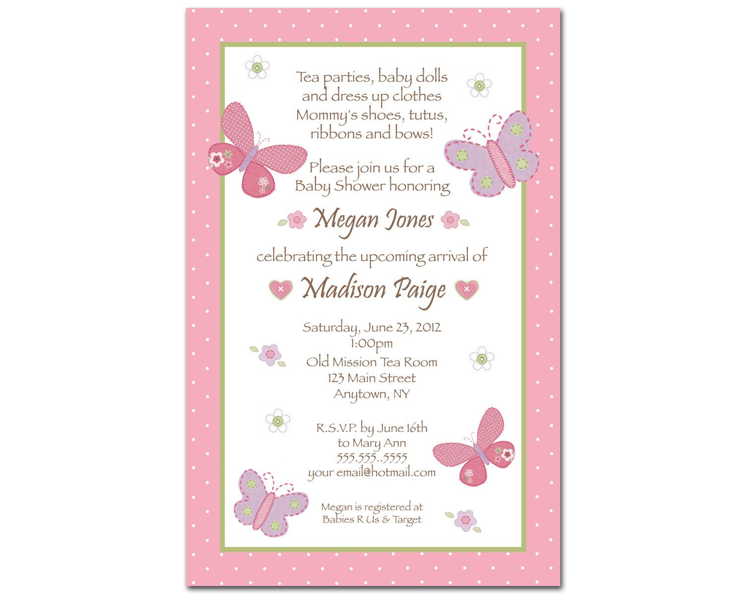 Carters Baby Girl Baby Shower Invitations Butterfly Flowers - Baby girl shower invitation wording