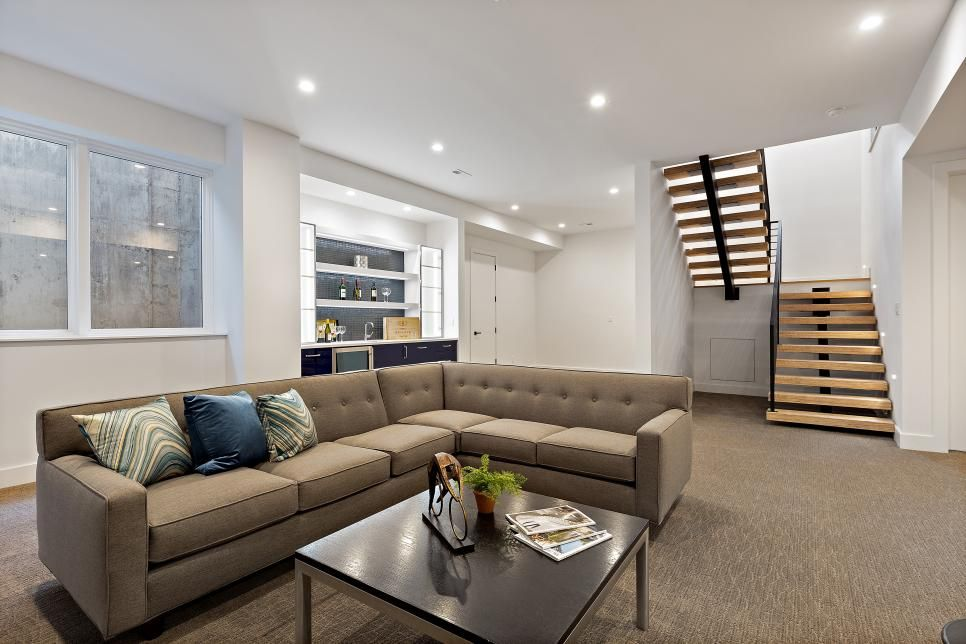 Don T Let That Unfinished Basement Just Sit There Get Inspiration For Your Space And Turn It Into Yo Basement Living Rooms Basement Design Finishing Basement