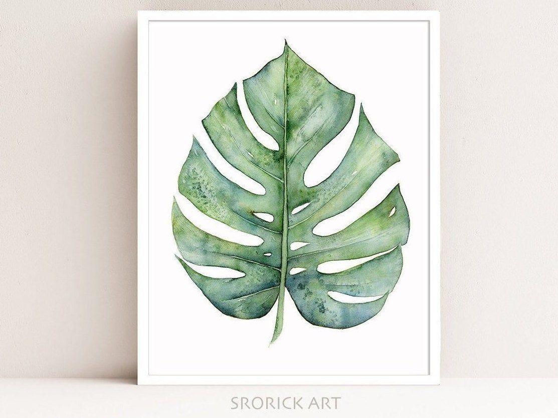 Monstera Leaf Print Botanical Print of Watercolor Painting   Etsy ...