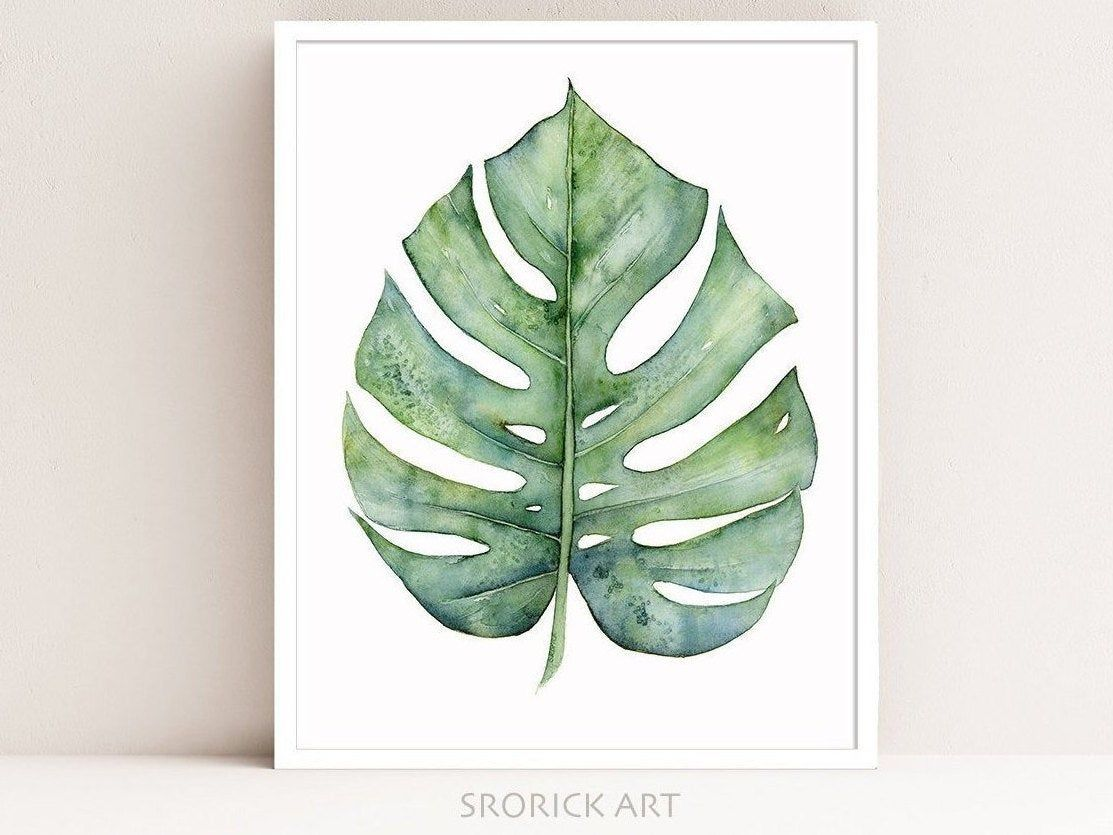 Monstera Leaf Print Botanical Print Of Watercolor Painting Blue