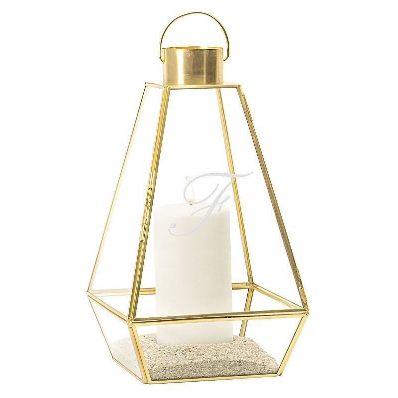 Cathy's Concepts Monogram Gold Finish Lantern Table Decor, Yellow