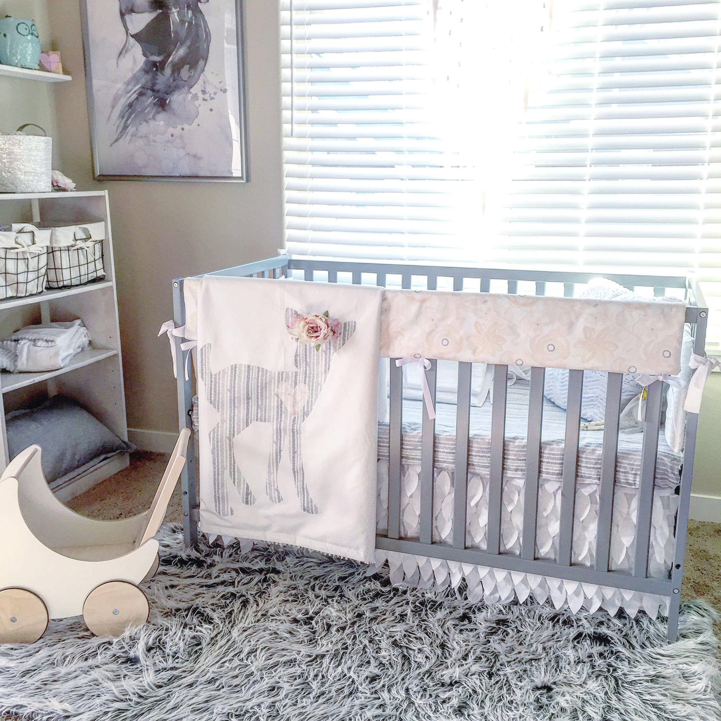 crib grey blush amazon set bedding cover cribs pink and jojo dp white pad com watercolor collection sweet piece for changing designs floral