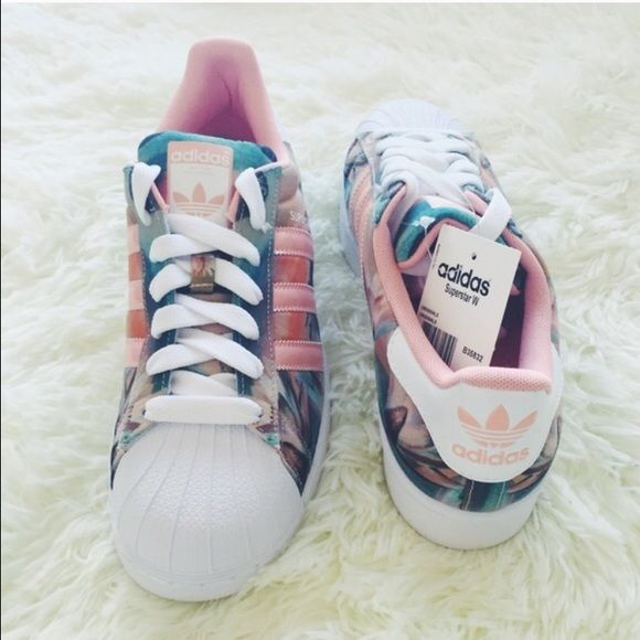 Cheap Adidas originals superstar 2 w ii rose floral Print White and Black