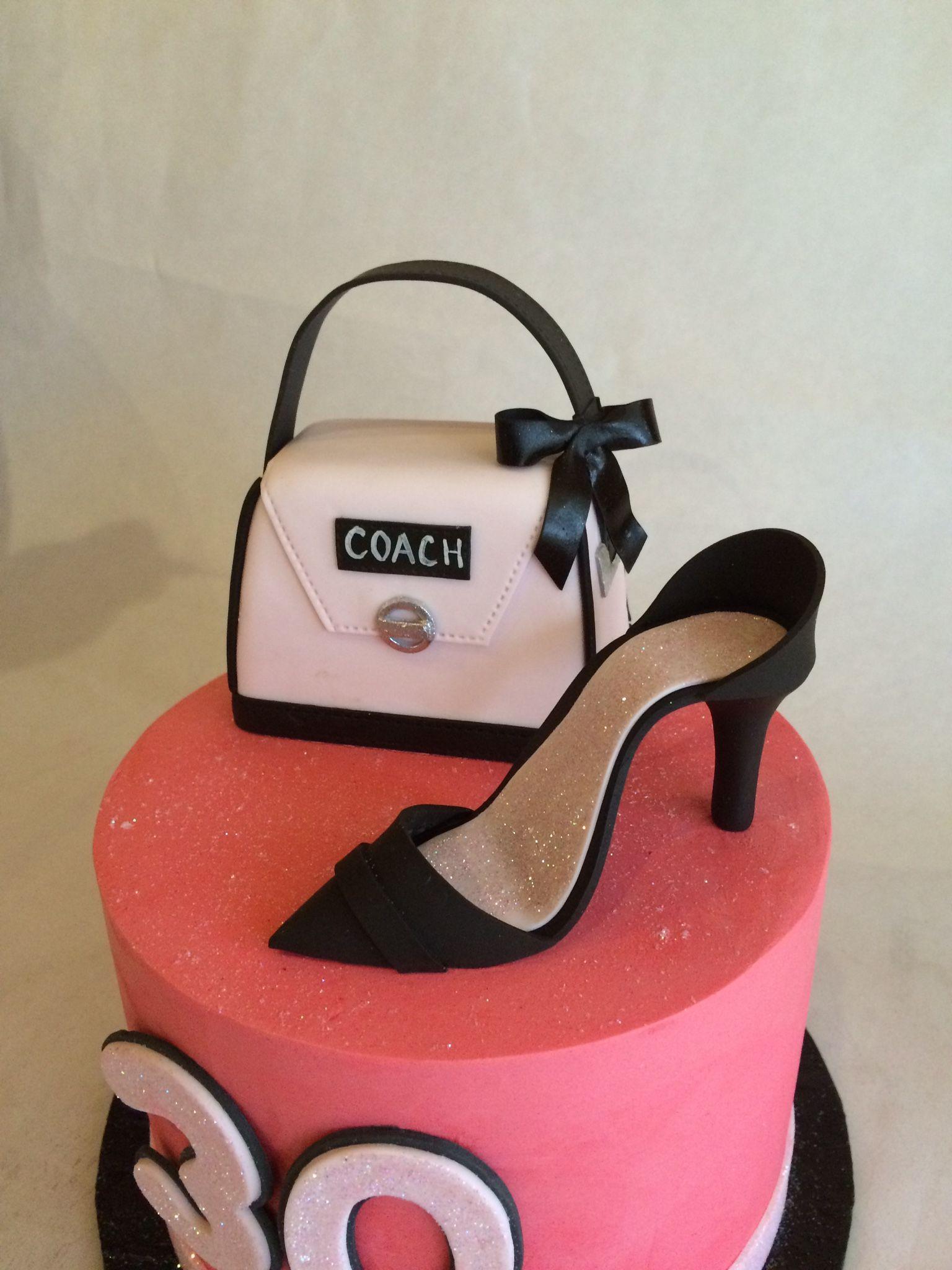 Coach Purse cake fondant high heel birthday cake ...