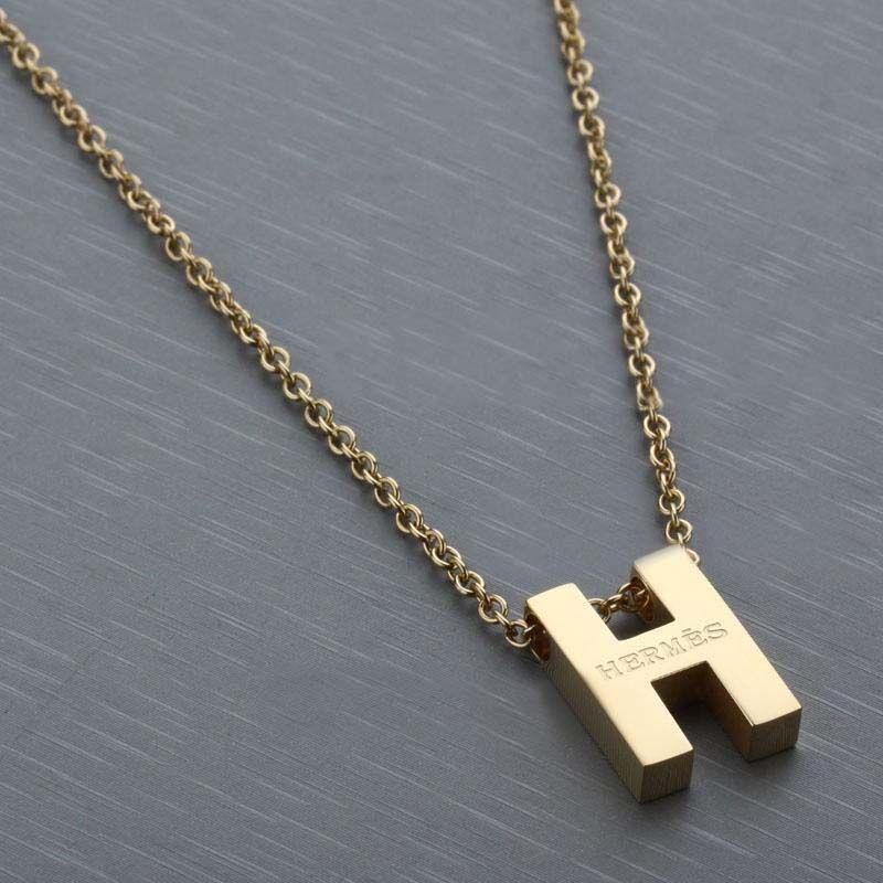 Mark Stewart Black Diamond: Hermes Gold Plated Letter H Necklace