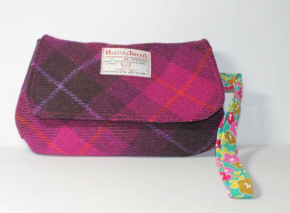 coin purse HARRIS TWEED purse change purse pinkpurple Tartan pattern