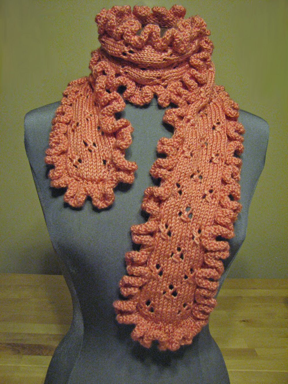 Coral ruffled eyelet lace scarf