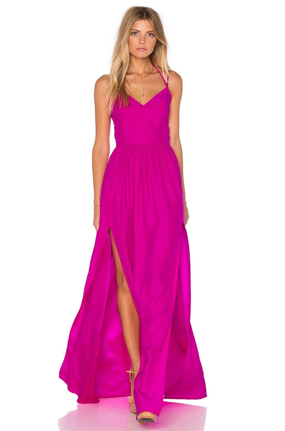 Amanda Uprichard Rio Maxi Dress in Hot Pink Light | shop | Pinterest