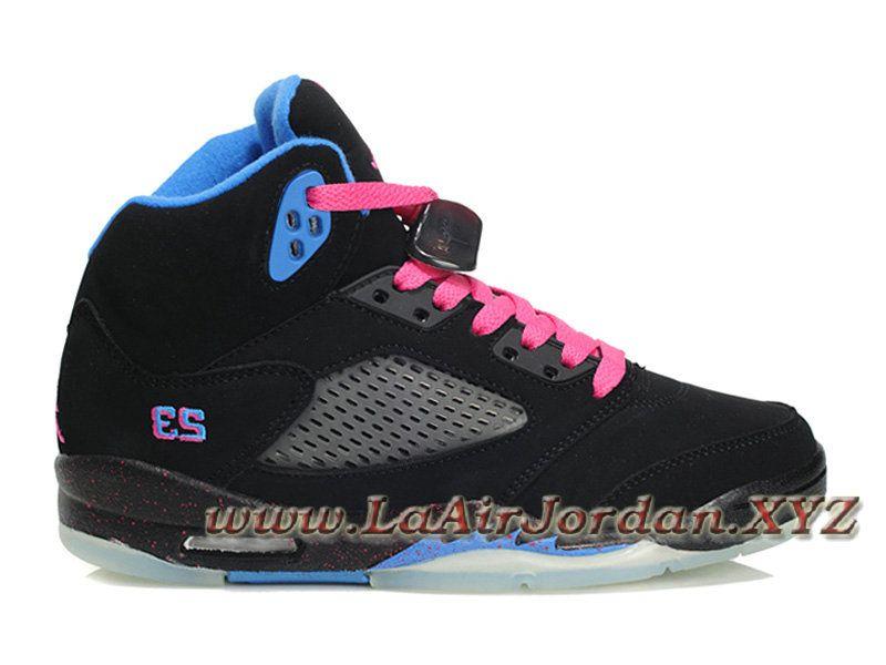Air Jordan 5(V) Retro Chaussures Nike Jordan Pour Femme Pas Cher Noir Bleu