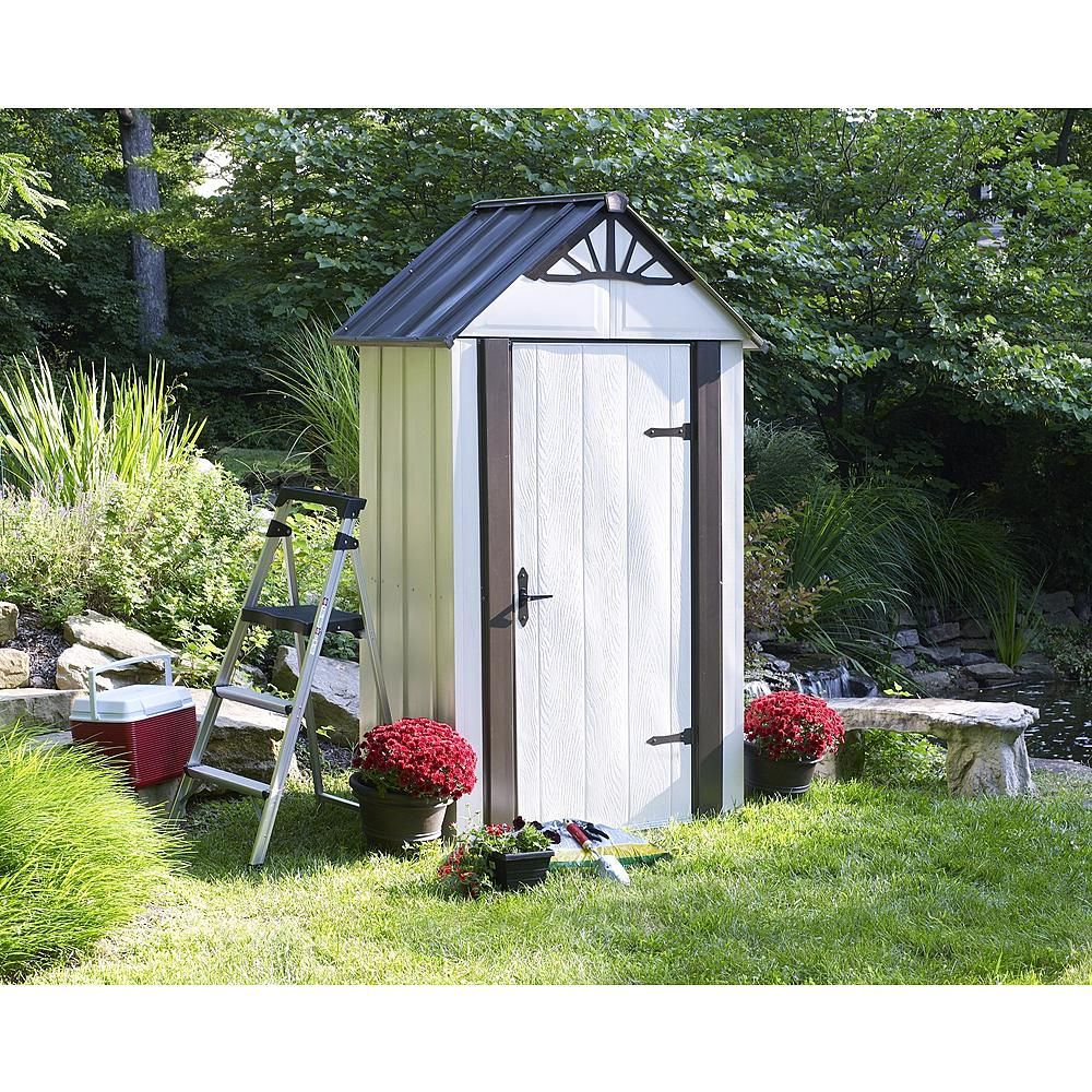 Garden Sheds 2 X 3 arrow designer series metro 4' x 2' steel storage shed - lawn