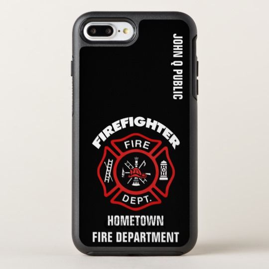 Red Firefighter Name Template OtterBox iPhone Case