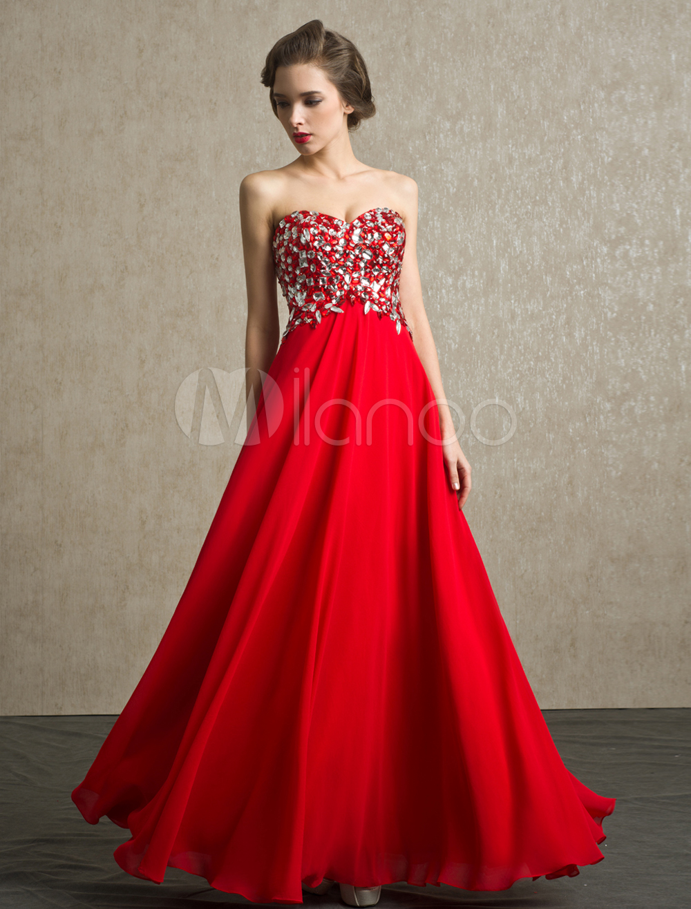 Red prom dress strapless rhinestone backless chiffon dress prom
