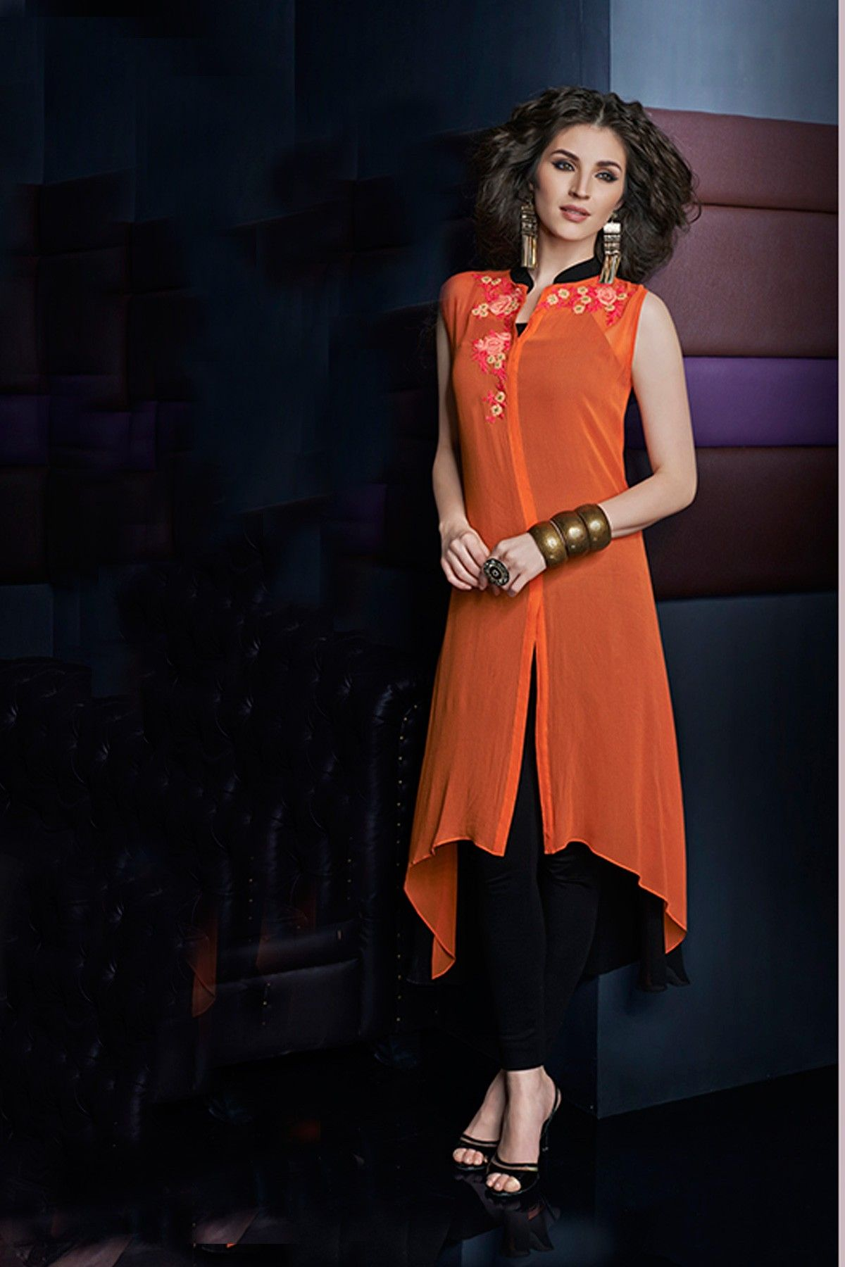 Orange mesmerizing georgette sleeveless  kurti with chinese  collar  -WKR267 -  Tunics   Kurtis  summer  party  wear  sexy  classy  new   collection 14c257086