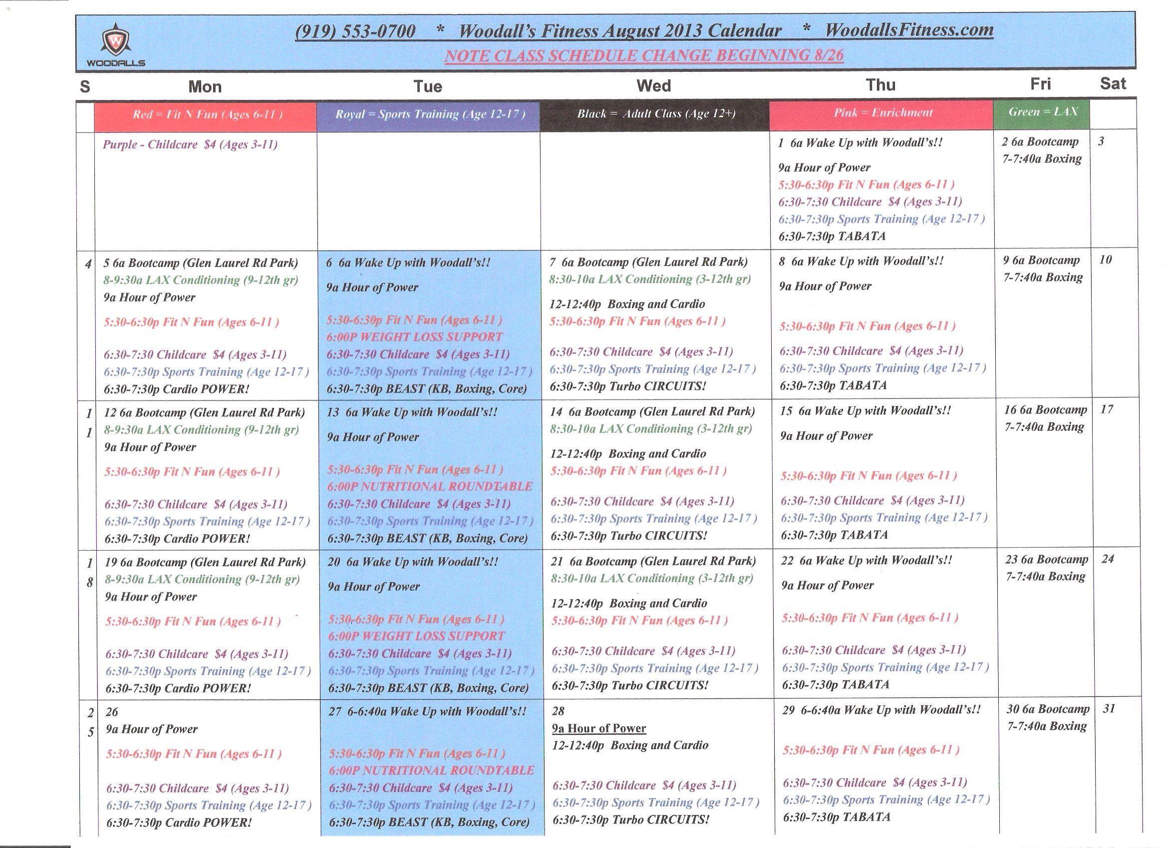 August 2013 Calendar Woodallsfitness August Calendar C Note