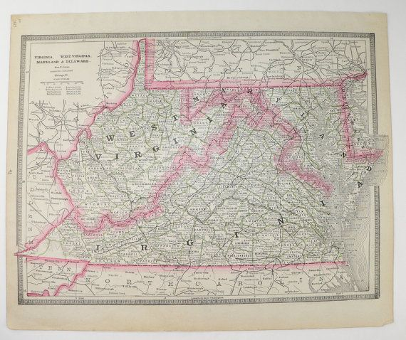 Cram Map Of Virginia West Virginia Map Vintage VA Map WV - Kentucky tennessee map