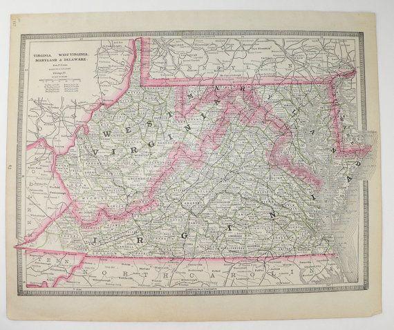 1885 Cram Map of Virginia West Virginia Map Vintage VA Map WV
