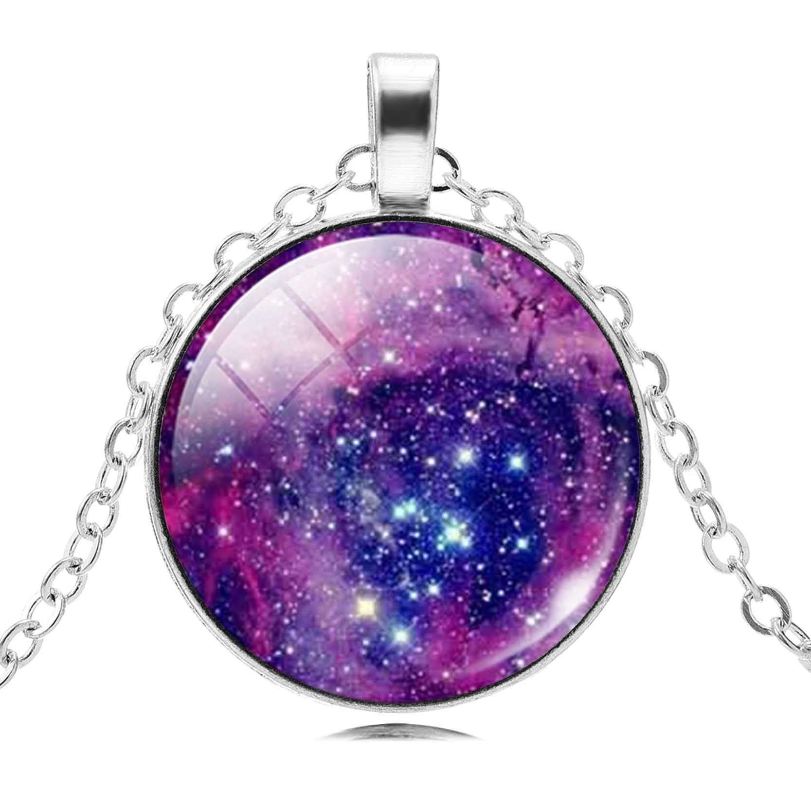 052a957a3b6fb1 2017 New Fashion Galaxy Jewelry for Women Gift Universe Pendant Necklace  Choker Necklace Silver Chain Glass Cabochon Maxi Anime