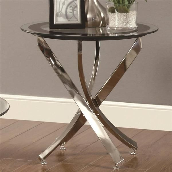 Coaster Furniture Chrome Black Round End Table Glass Top End