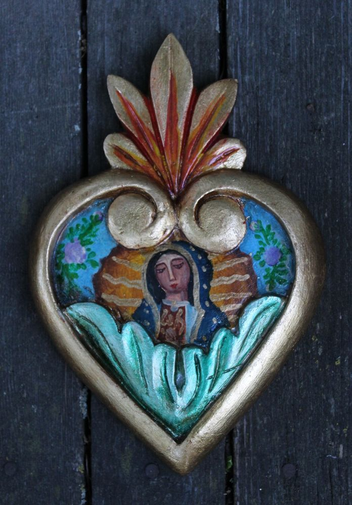 Hand carved painted heart our lady of guadalupe mexican for Our lady of guadalupe arts and crafts