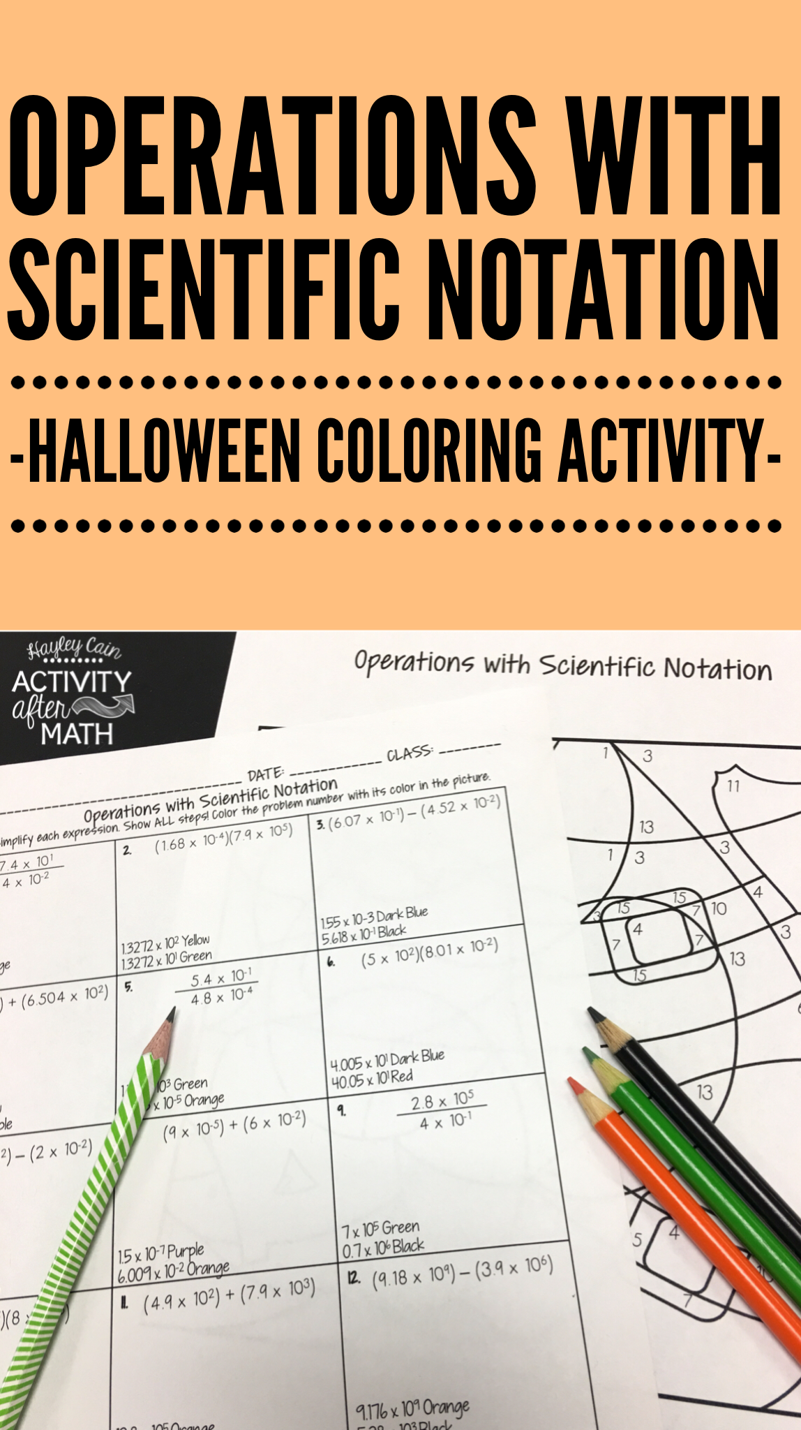 Operations With Scientific Notation Halloween Math Coloring Activity Students Will Practice Adding Subt Middle School Math Resources Scientific Notation Math [ 2048 x 1148 Pixel ]