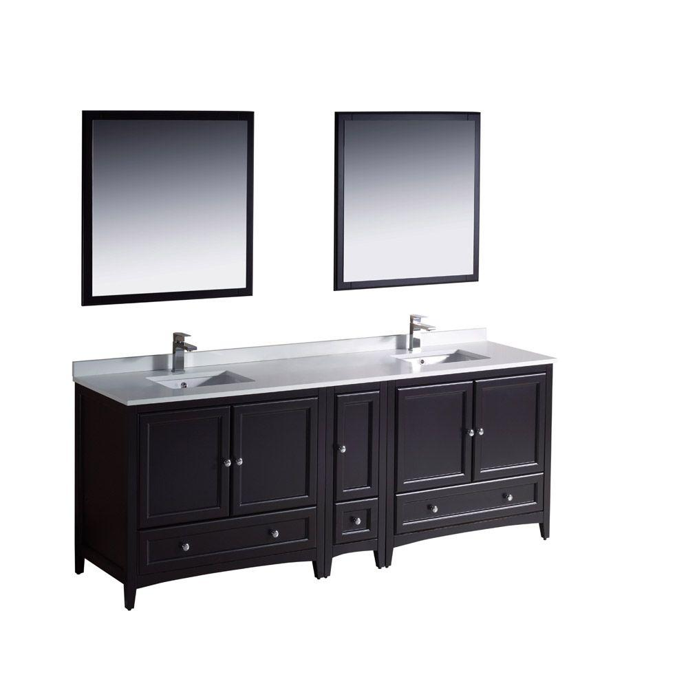 Fresca Oxford 84 In Double Vanity In Espresso With Ceramic Vanity