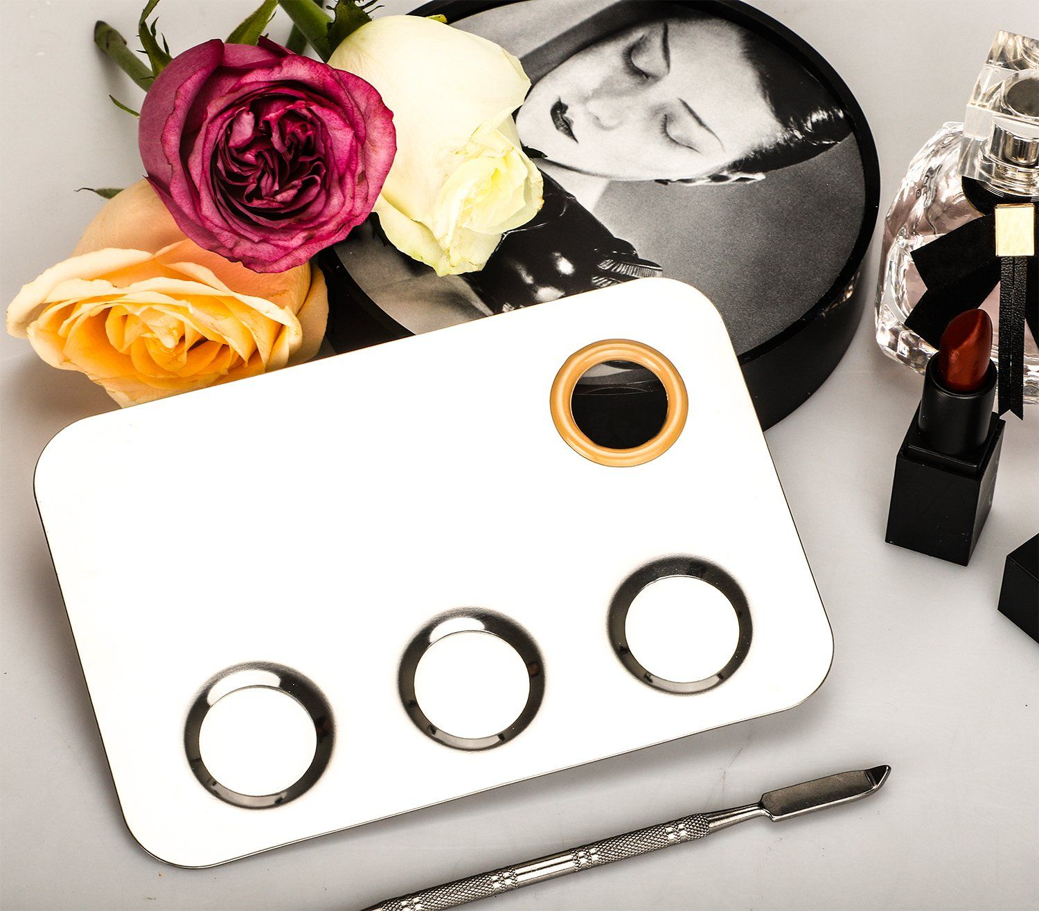PrettyDate Makeup Palette 6x4inch Stainless Steel 3well