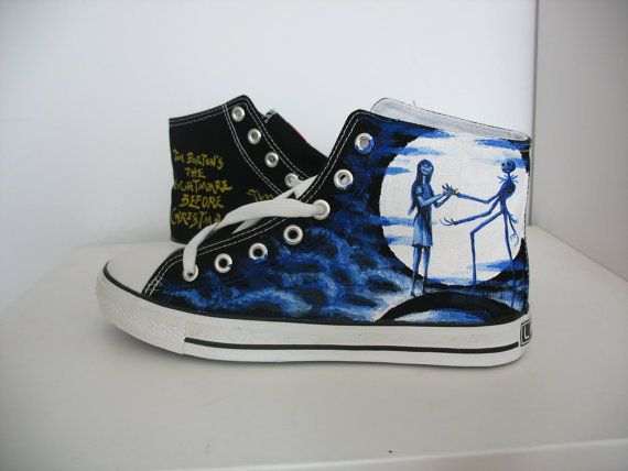 Shoes Men's Shoes Practical The Nightmare Before Christmas Styles Canvas Shoes Special Luminous Skull Jack Hand Painted Shoes Black High Top Men Sneakers Without Return